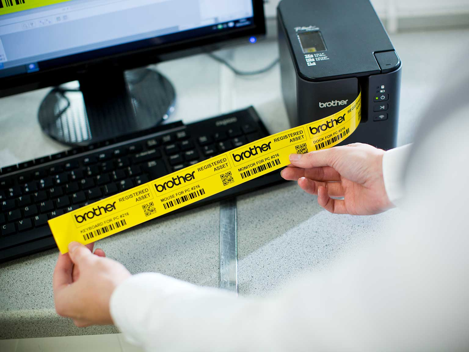 Brother P-touch PT-P900W printing asset labels
