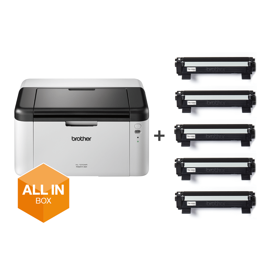 Wireless Mono Laser Printer - HL-1210W All in Box Bundle 6