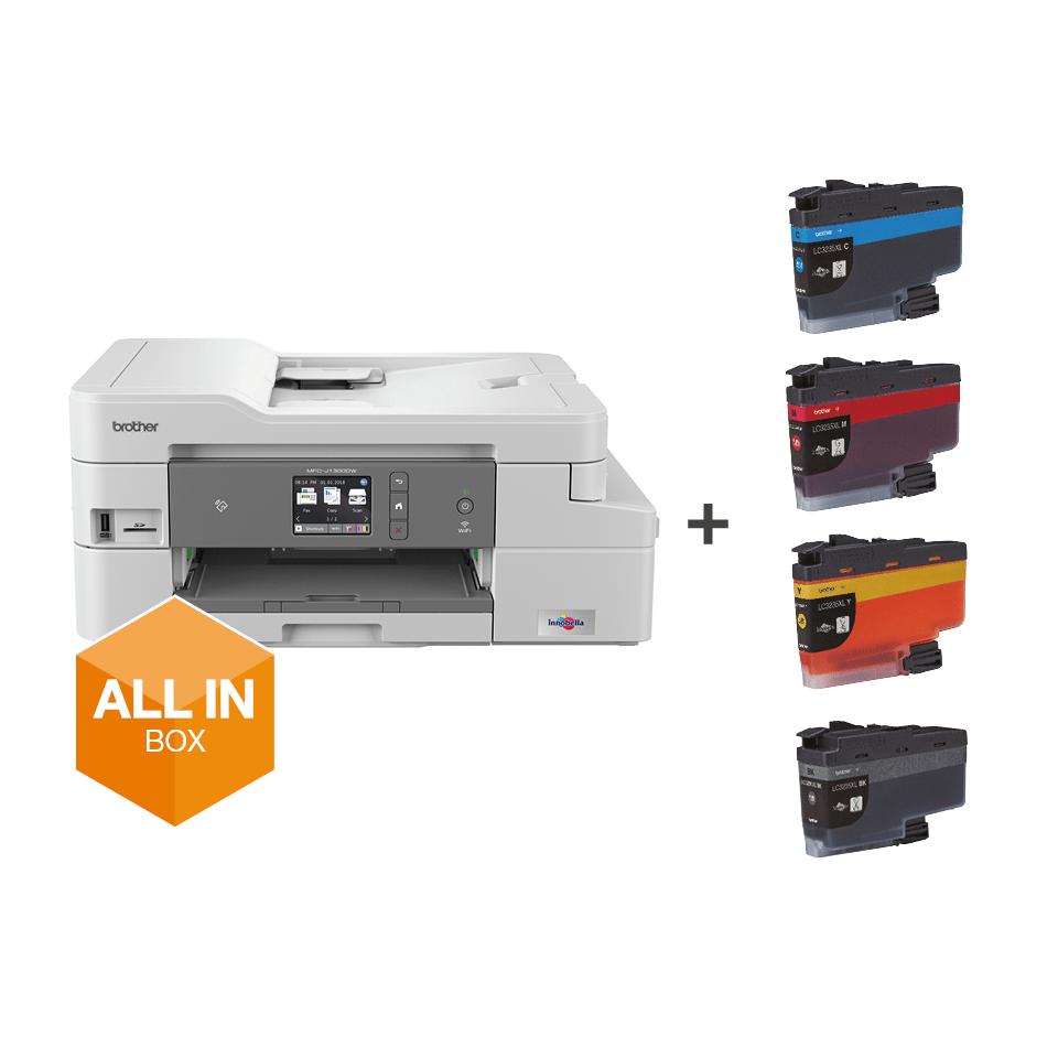 Wireless 4-in-1 Colour Inkjet Printer MFC-J1300DW All In Box Bundle