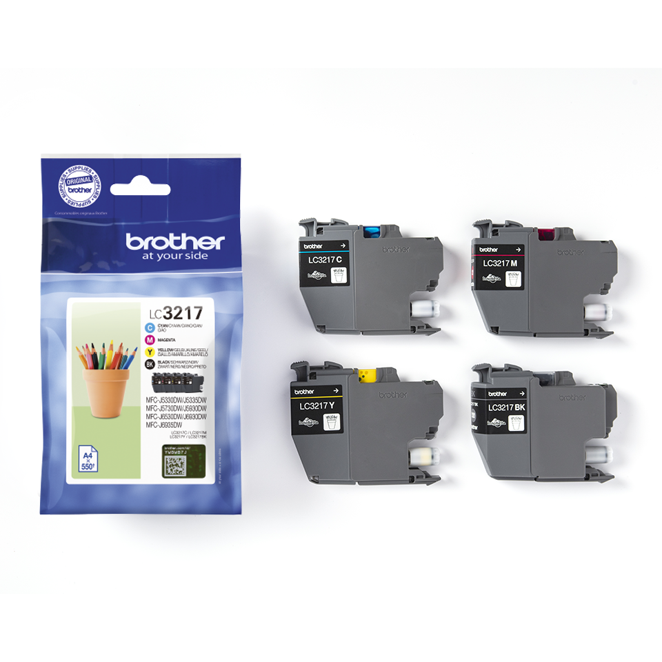 Genuine Brother LC3217VALDR ink catridge value pack - black, cyan, magenta and yellow 3