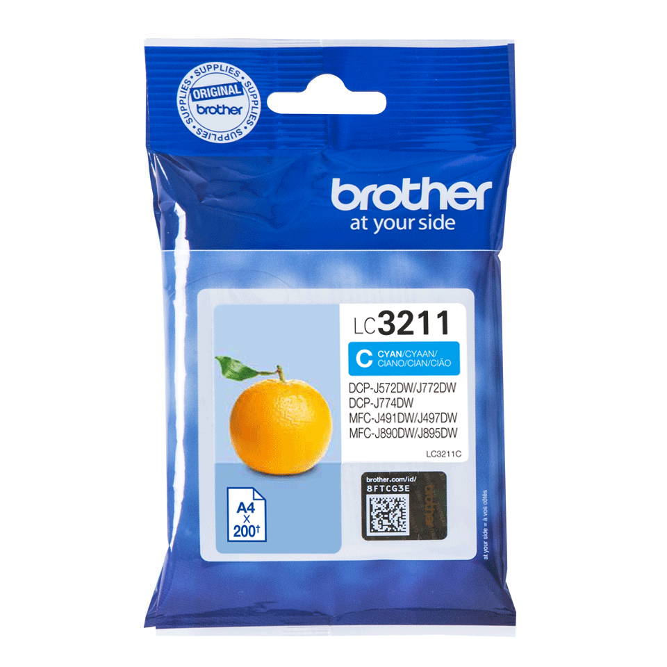 Genuine Brother LC3211C ink cartridge - cyan
