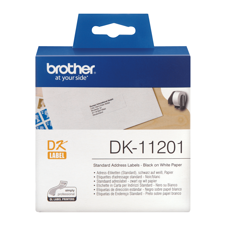 Genuine Brother DK-11201 Label Roll – Black on White, 29mm x 90mm
