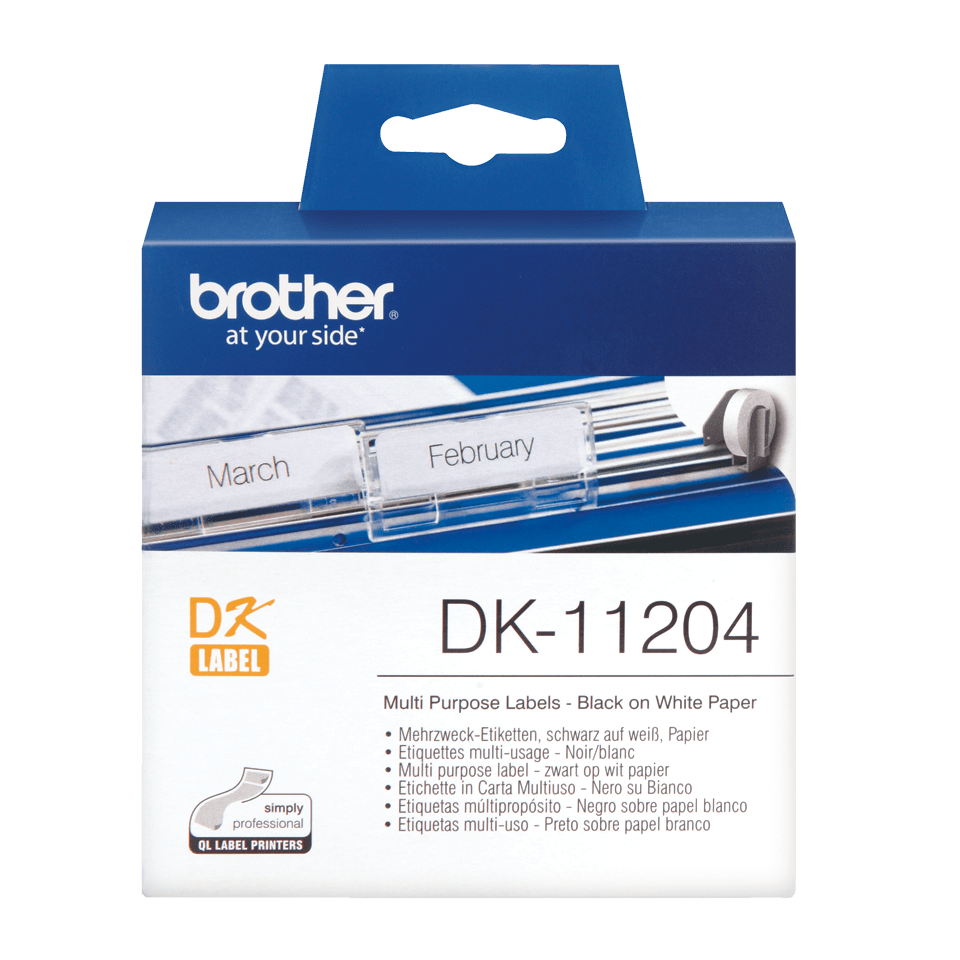 Genuine Brother DK-11204 Label Roll – Black on White, 17mm x 54mm