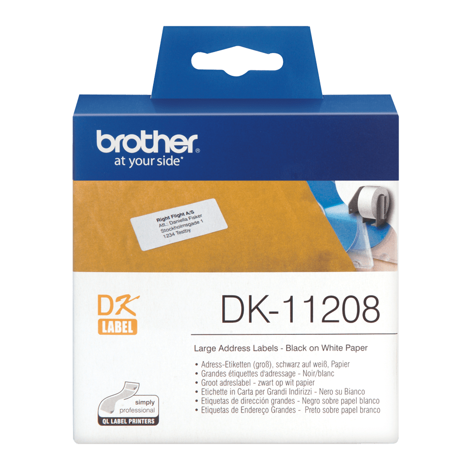 Genuine Brother DK-11208 Label Roll – Black on White, 38mm x 90mm