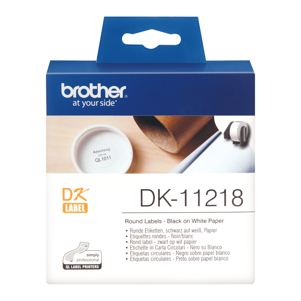Genuine Brother DK-11218 Label Roll – Black on White, 24mm x 90mm