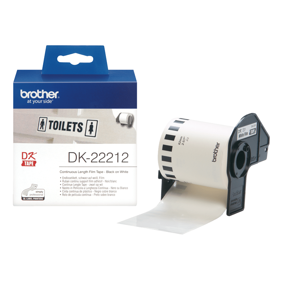 Genuine Brother DK-22212 Continuous Film Label Roll – Black on White, 62mm 3