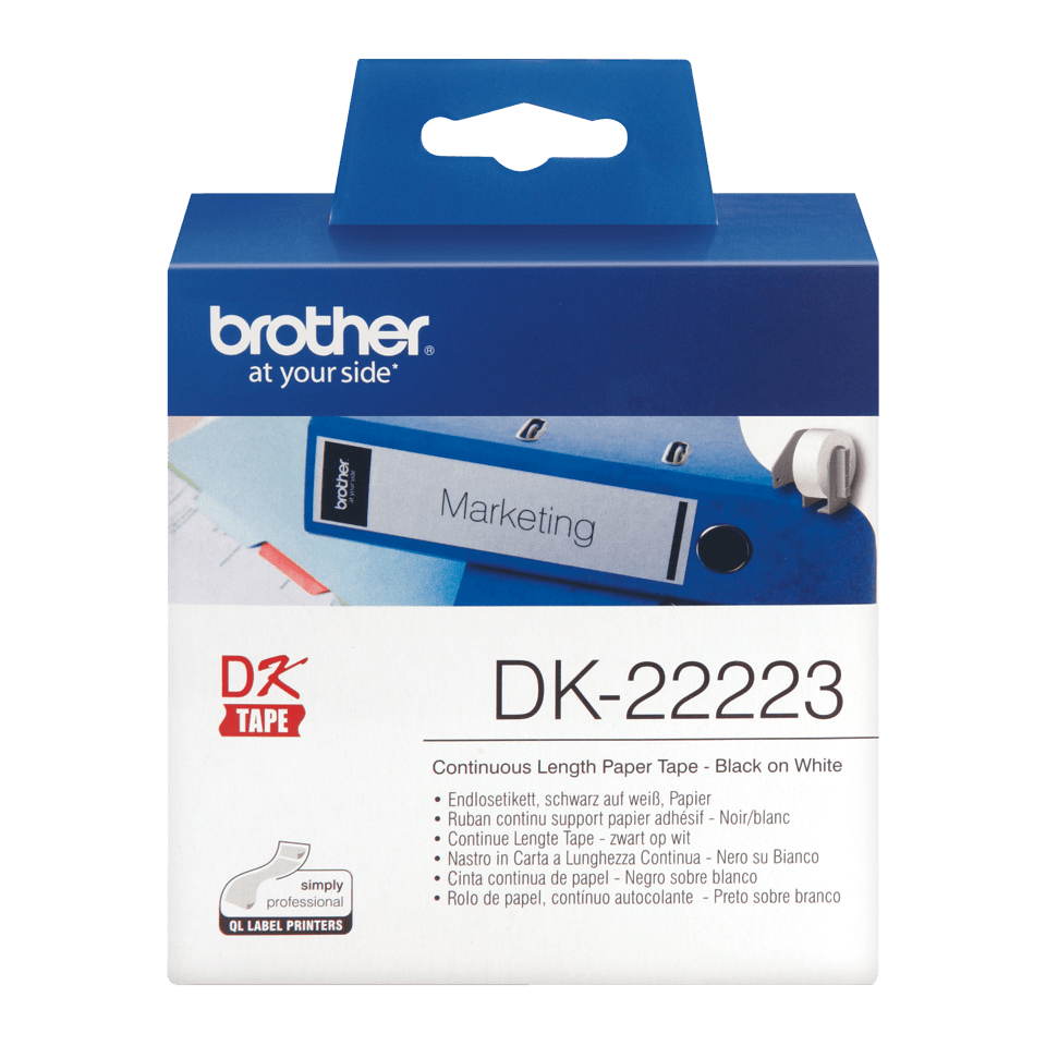 Genuine Brother DK-22223 Continuous Paper Label Roll – Black on White, 50mm wide