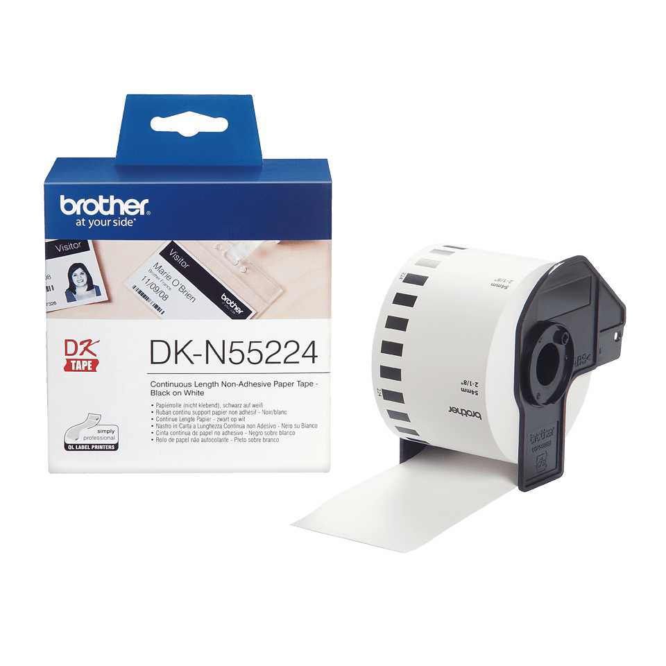 Genuine Brother DK-N55224 Continuous Non-Adhesive Paper Roll – Black on White, 54mm 3