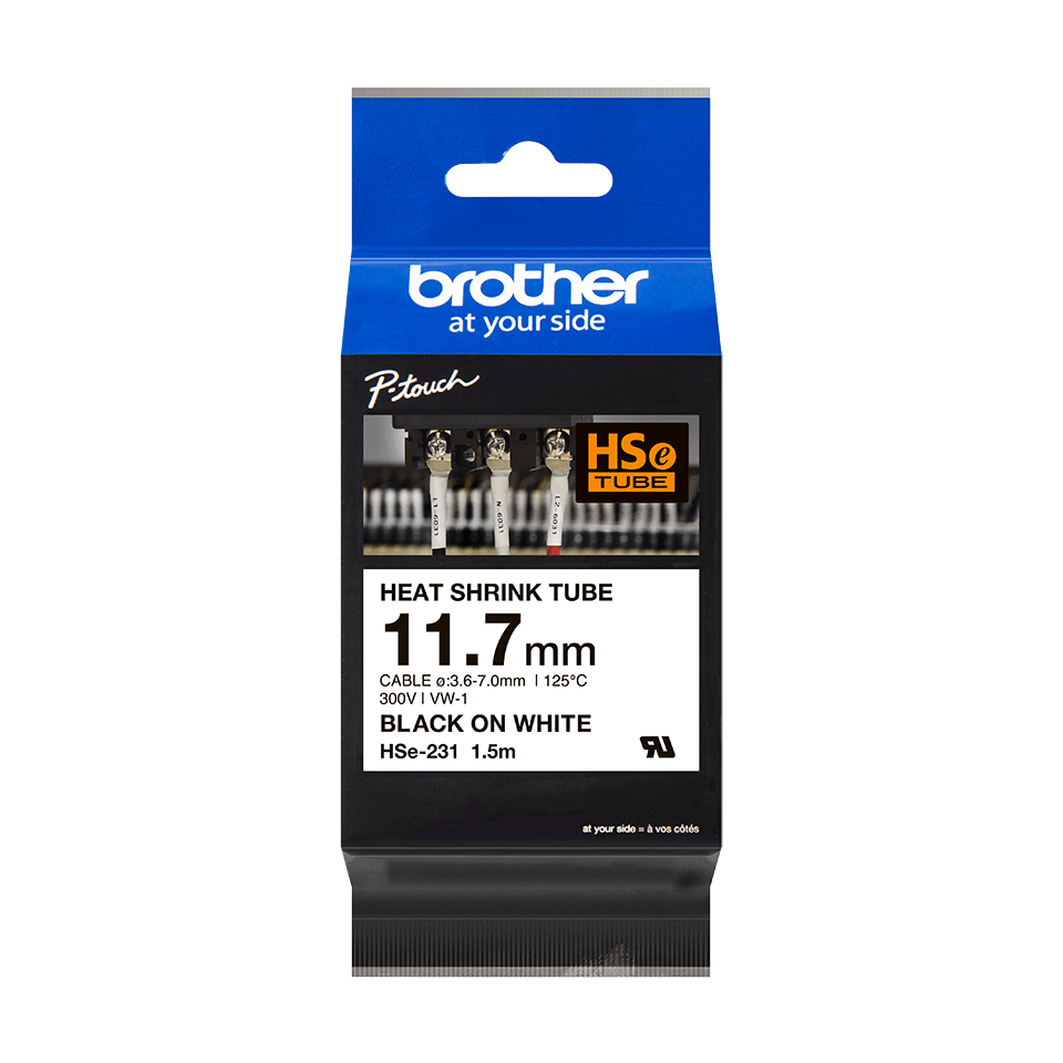 Genuine Brother HSe-231 Heat Shrink Tube Tape Cassette – Black on White, 11.7mm wide 2