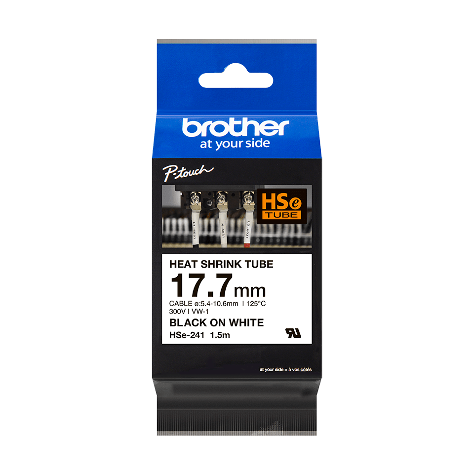 Genuine Brother HSe-241 Heat Shrink Tube Tape Cassette – Black on White, 17.7mm wide 2
