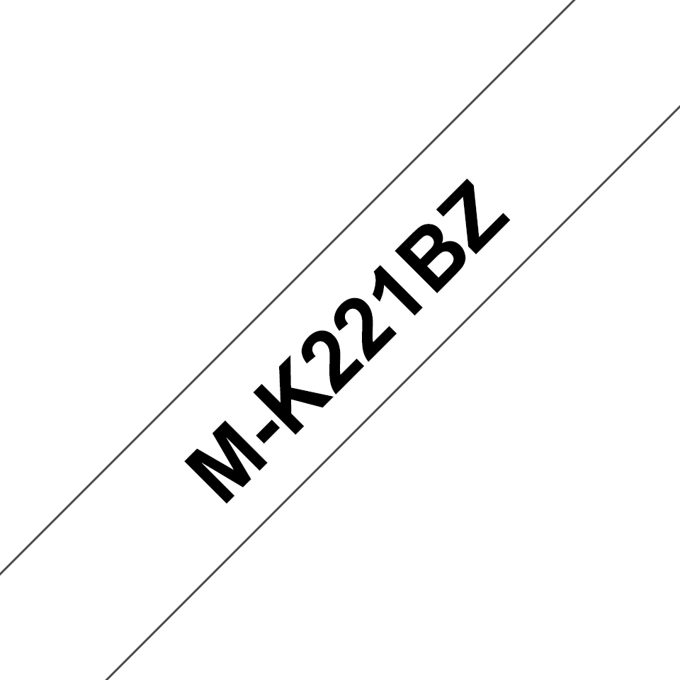 Genuine Brother M-K221BZ Labelling Tape Cassette – Black on White, 9mm wide