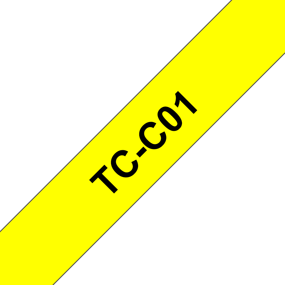 Genuine Brother TC-C01 Fluorescent Labelling Tape Cassette – Black on Yellow, 12mm wide