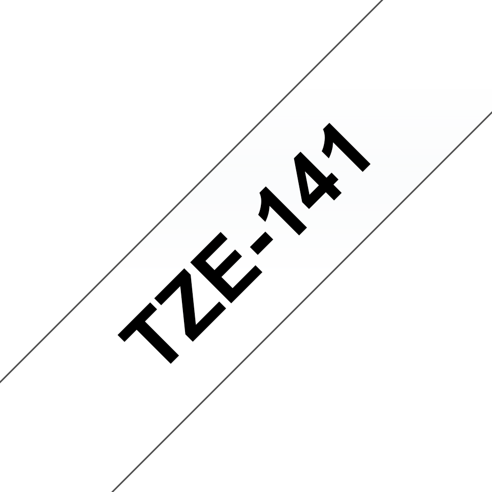 Genuine Brother TZe-141 Labelling Tape Cassette – Black on Clear, 18mm wide