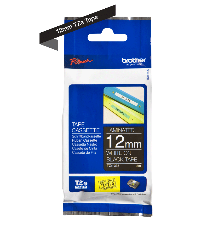 Genuine Brother TZe-335 Labelling Tape – White on Black, 12mm wide 1