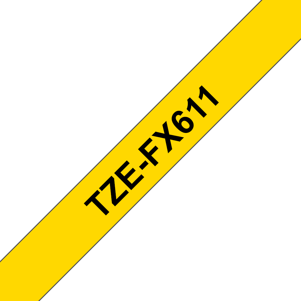 Genuine Brother TZe-FX611 Labelling Tape Cassette – Black on Yellow, 6mm wide