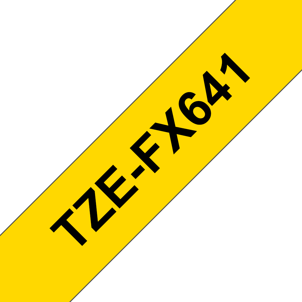 Genuine Brother TZe-FX641 Labelling Tape Cassette – Black on Yellow, 18mm wide