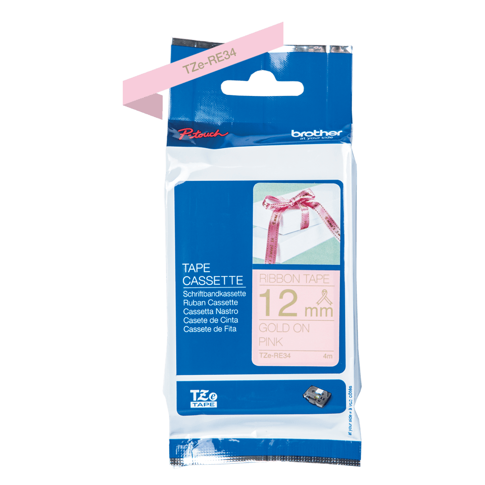 Genuine Brother TZe-RE34 Ribbon Tape Cassette – Gold on Pink, 12mm wide 2