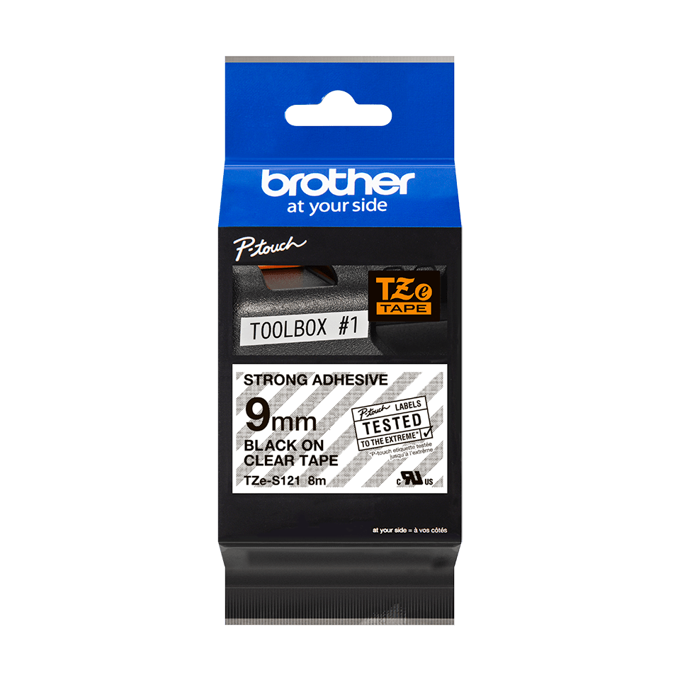 Genuine Brother TZe-S121 Labelling Tape Cassette – Black on Clear, 9mm wide 3